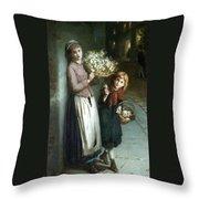 Flower Girls A Summer Night Throw Pillow by Augustus Edwin Mulready