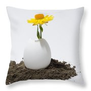 Flower Growing In A Egg Throw Pillow