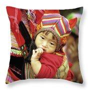 Flower Hmong Baby 01 Throw Pillow
