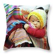 Flower Hmong Baby 04 Throw Pillow