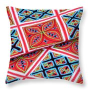 Flower Hmong Embroidery 02 Throw Pillow