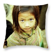 Flower Hmong Girl 02 Throw Pillow