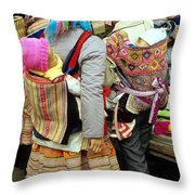 Flower Hmong Mothers And Babies Throw Pillow
