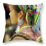 Flower Hmong Woman Throw Pillow