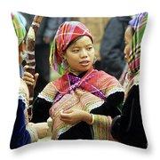 Flower Hmong Women Throw Pillow by Rick Piper Photography