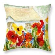 Flower House Throw Pillow