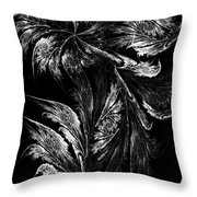 Flower In Black-and-white Throw Pillow