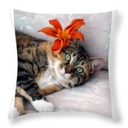 Flower In My Hair Throw Pillow
