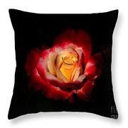 Flower In Red And Gold Throw Pillow