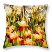 Flower - Iris - Mildred Presby 1923 Throw Pillow by Mike Savad