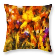 Flower - Iris - Orchestra Throw Pillow by Mike Savad