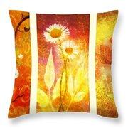 Flower Love Triptic Throw Pillow