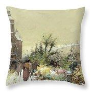 Flower Market Marche Aux Fleurs Throw Pillow by Eugene Galien-Laloue