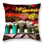 Flower Market With Bike Throw Pillow