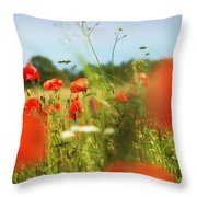 Flower Meadow In Summer With Red Poppy Throw Pillow