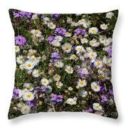 Flower Mix - Purple And White Throw Pillow