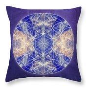 Flower Of Life Blue Throw Pillow