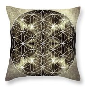 Flower Of Life Silver Throw Pillow