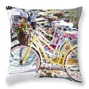 Flower On A Bicycle 2 Throw Pillow