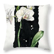 Flower Orchid 05 Elena Yakubovich Throw Pillow by Elena Yakubovich