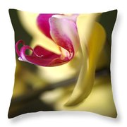 Flower-orchid-yellow Throw Pillow
