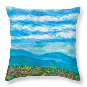 Flower Path To The Blue Ridge Throw Pillow