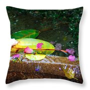 Flower Petals And Leaves Throw Pillow