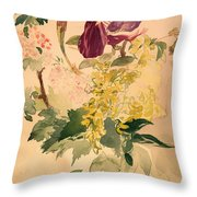 Flower Piece With Iris Laburnum And Geranium Throw Pillow