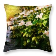 Flower - Rose - By A Wall  Throw Pillow by Mike Savad