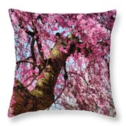 Flower - Sakura - Finally It's Spring Throw Pillow by Mike Savad