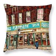 Flower Shop Rue Notre Dame Street Coin Vert Fleuriste Boutique Montreal Winter Stroll Scene Throw Pillow