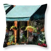 Flower Shop With Green Awnings Throw Pillow