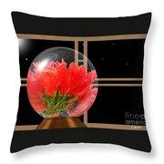 Flower Snow Globe At Window Throw Pillow
