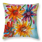 Flower Splash Throw Pillow