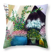Flower Stand On Worth Ave In Palm Beach Throw Pillow