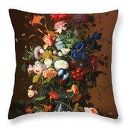 Flower Still Life With A Bird's Nest Throw Pillow