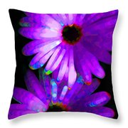 Flower Study 6 - Vibrant Purple By Sharon Cummings Throw Pillow
