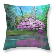 Flower Tree Reflections Throw Pillow