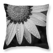 Flower Water Droplets Throw Pillow