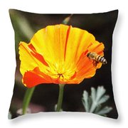 Flower With Honey Bee Throw Pillow