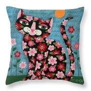 Flowered Calico Black Cat Throw Pillow