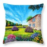 Flowered Garden Throw Pillow