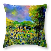 Flowered Village Throw Pillow