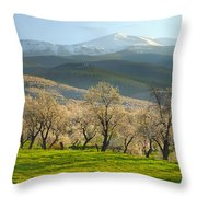 Flowering Almond At The Mountains Throw Pillow