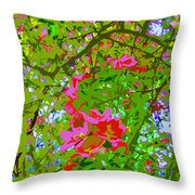 Flowering Blossoms Tree Paint Style Throw Pillow