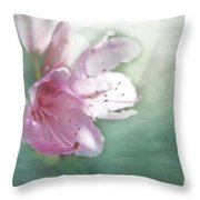 Flowering In The Green Mist Throw Pillow