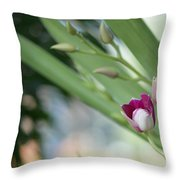 Flowering  Orchid Stem Throw Pillow