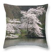 Flowering Tree At The Pond Throw Pillow
