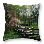 Flowering Trees In Bloom Along Fence Throw Pillow
