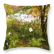 Flowers Along The River In Fall Throw Pillow
